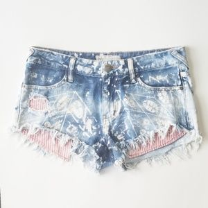 Free People Red and White Detailed Denim Shorts